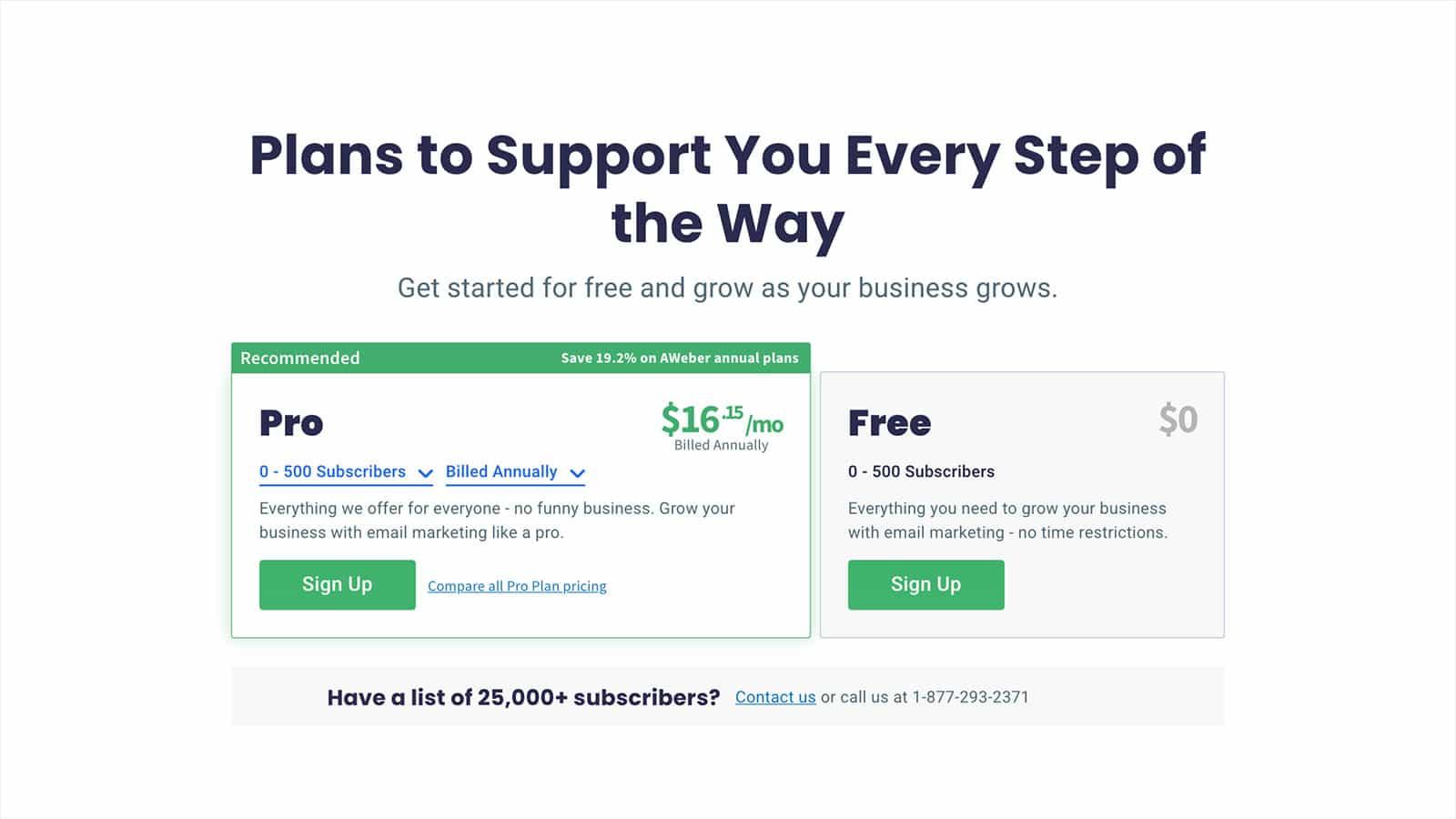 AWeber Email Marketing pricing