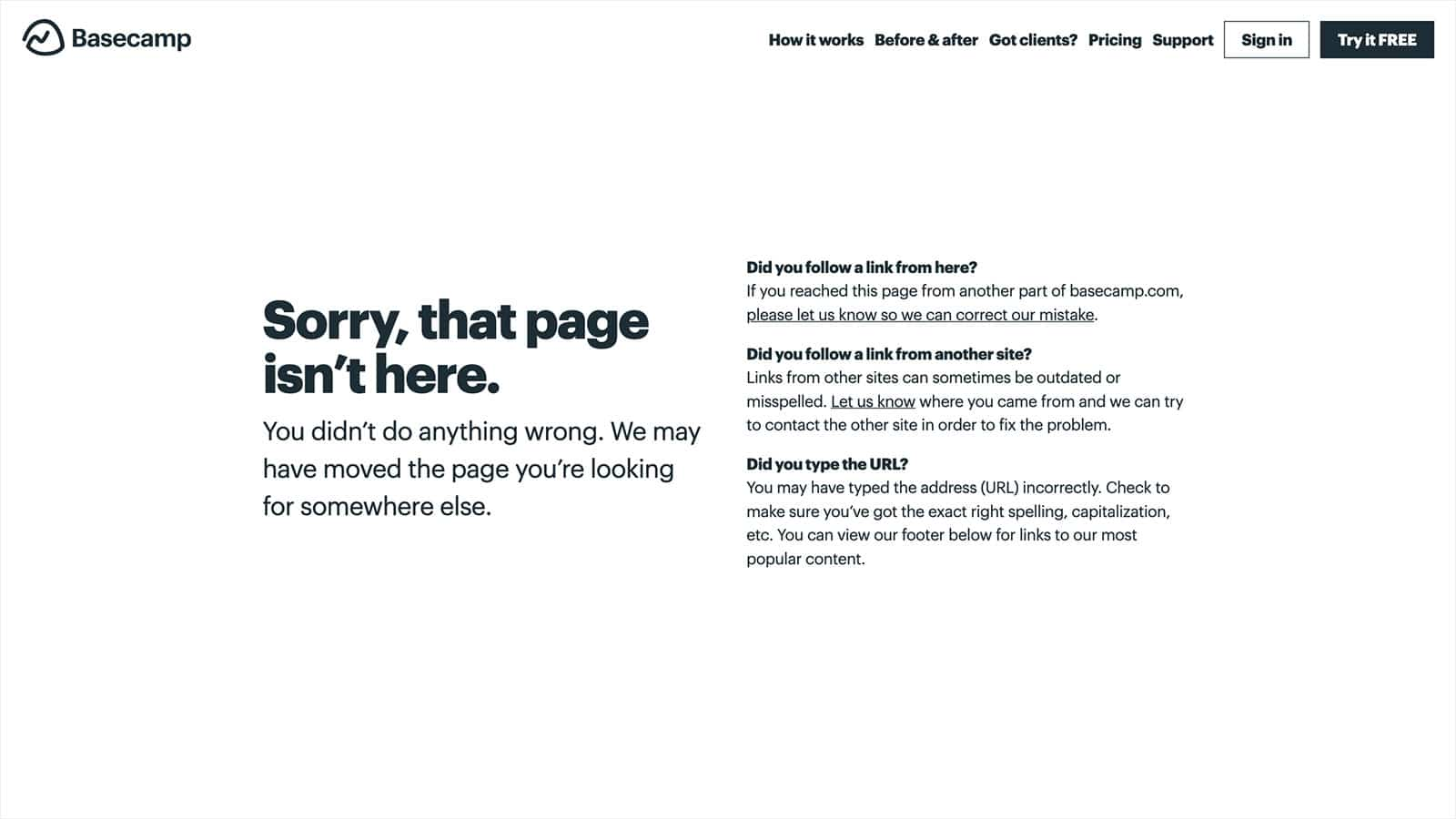page not found Basecamp